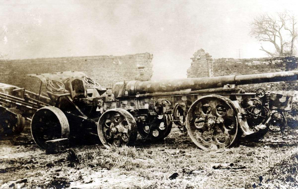 Орудие калибром 15 см в транспортном положении - со снятым стволом (1918 год)