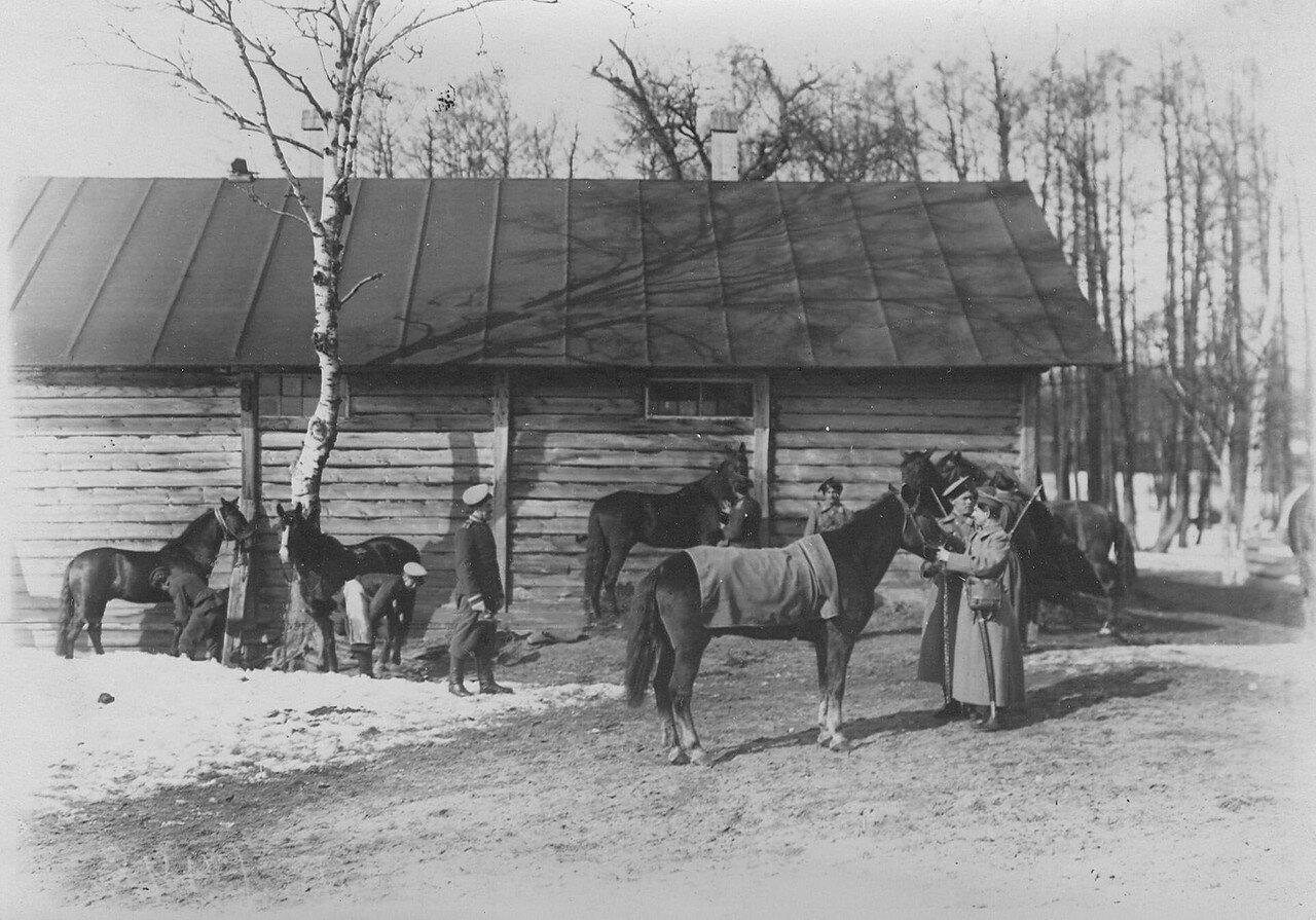 08. Группа казаков полка на учении в 1-ой Петербургской императора Александра III бригаде отдельного корпуса пограничной стражи. 1908