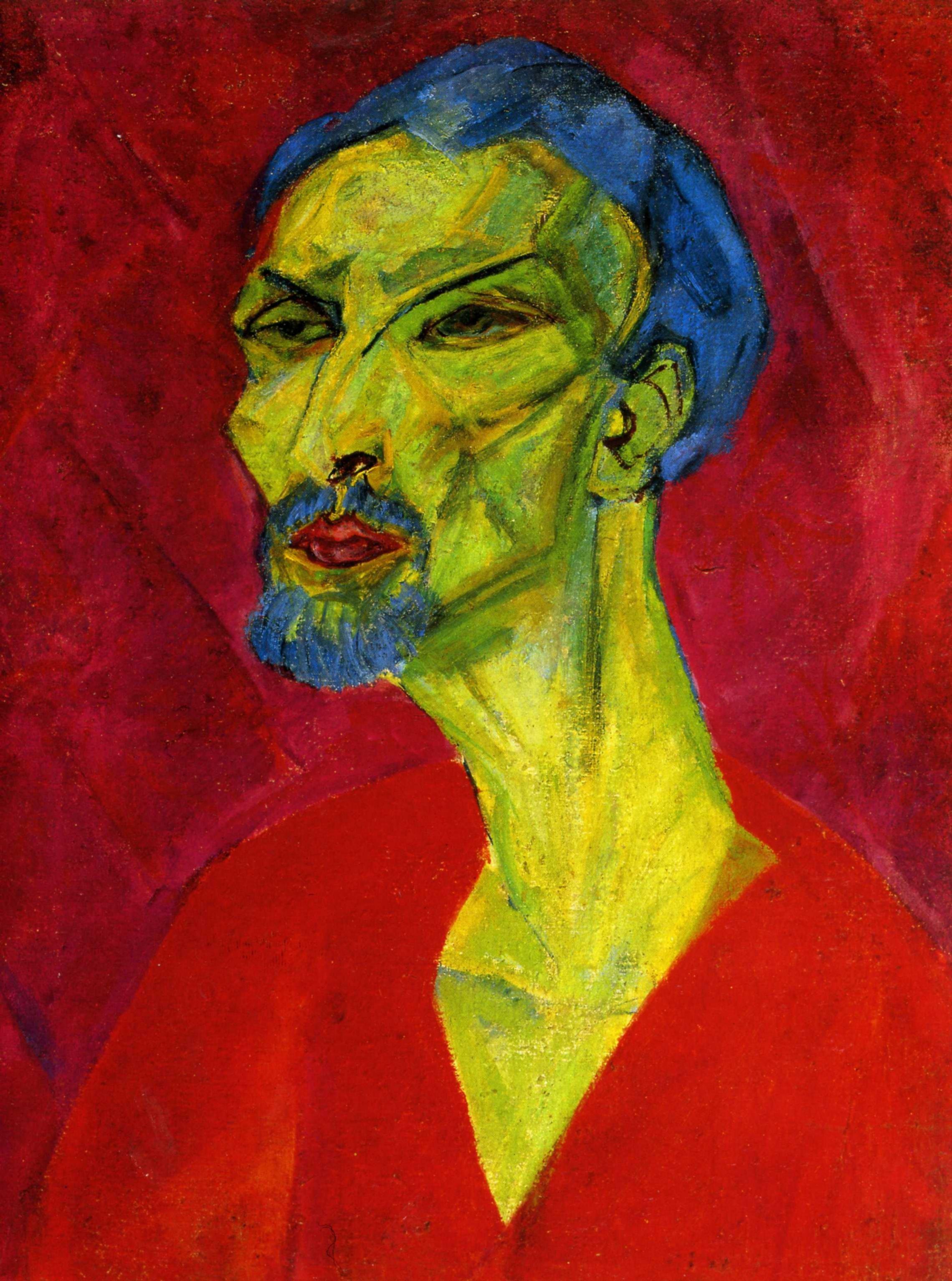 Ганс Кац. Портрет мужчины в красном. 1919