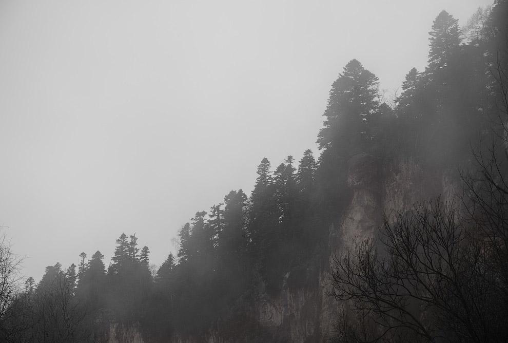 9. На подъезде к самому плато, туман резко начал рассеиваться и проступил окружающий дорогу пей