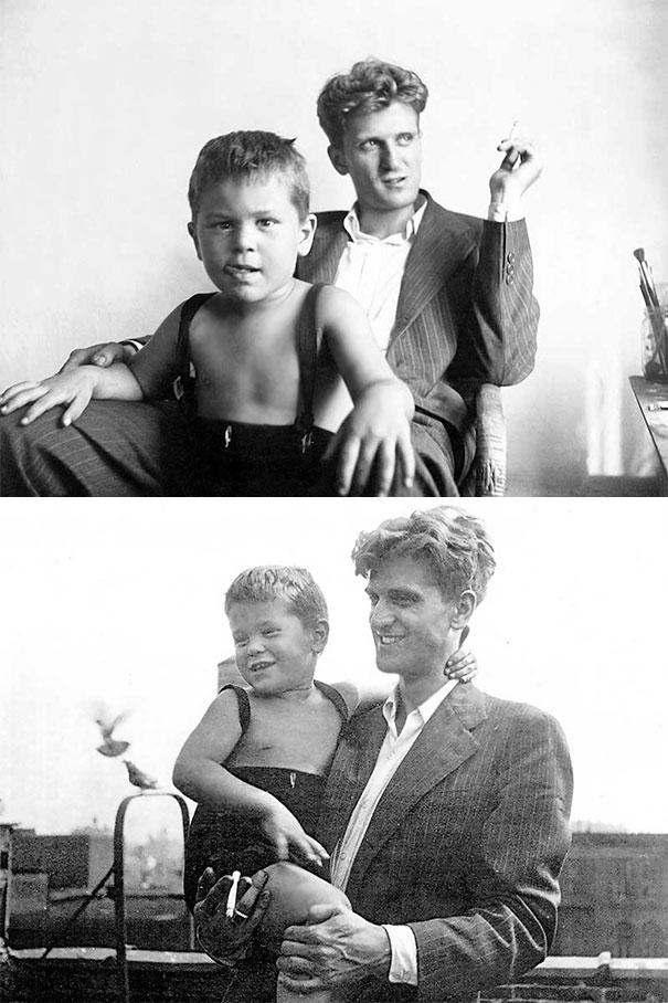 3-летний Роберт Де Ниро со своим 24-летним отцом Робертом Де Ниро-старшим, 1946 год.