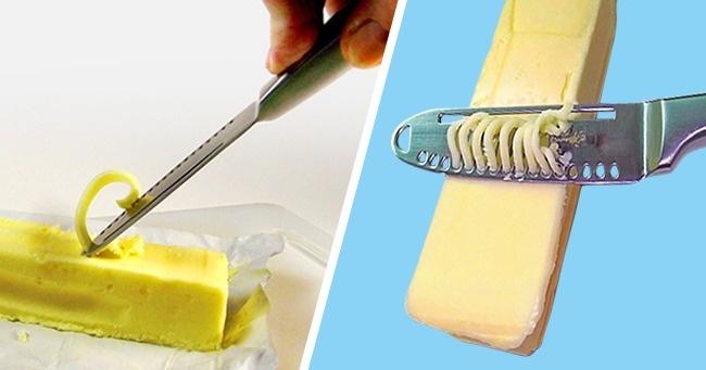 © amazon  Этот нож позволяет нарезать масло как угодно: ломтиками, стружкой идлинной узкой по