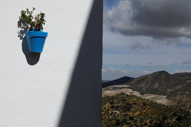 A flower pot is mounted on a wall in the white village of Olvera, southern Spain September 14, 2016.