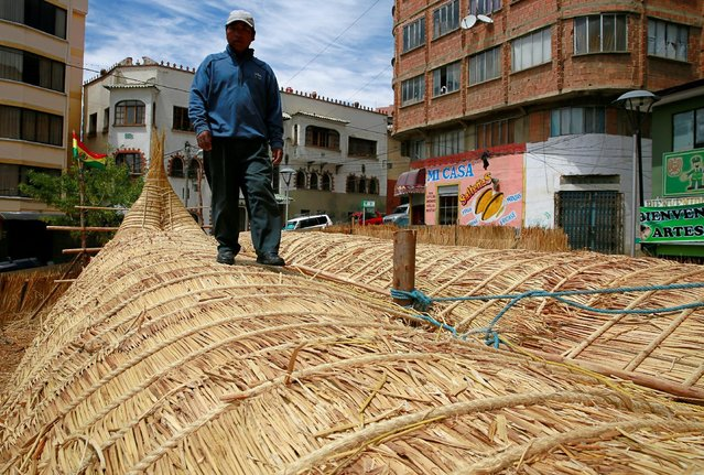 "Bolivian builder Gregorio Caceres walks on top of the ""Viracocha III"", a boat made only from the tot"