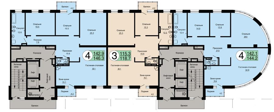 АР-4 план типового этажа на отм +8.400...+48.000