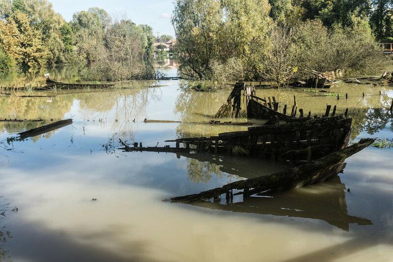 кладбище кораблей на реке Силе в Тревизо