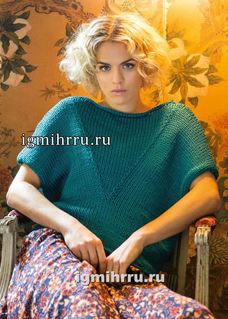 Зеленый пуловер с V-образной вставкой. Вязание спицами