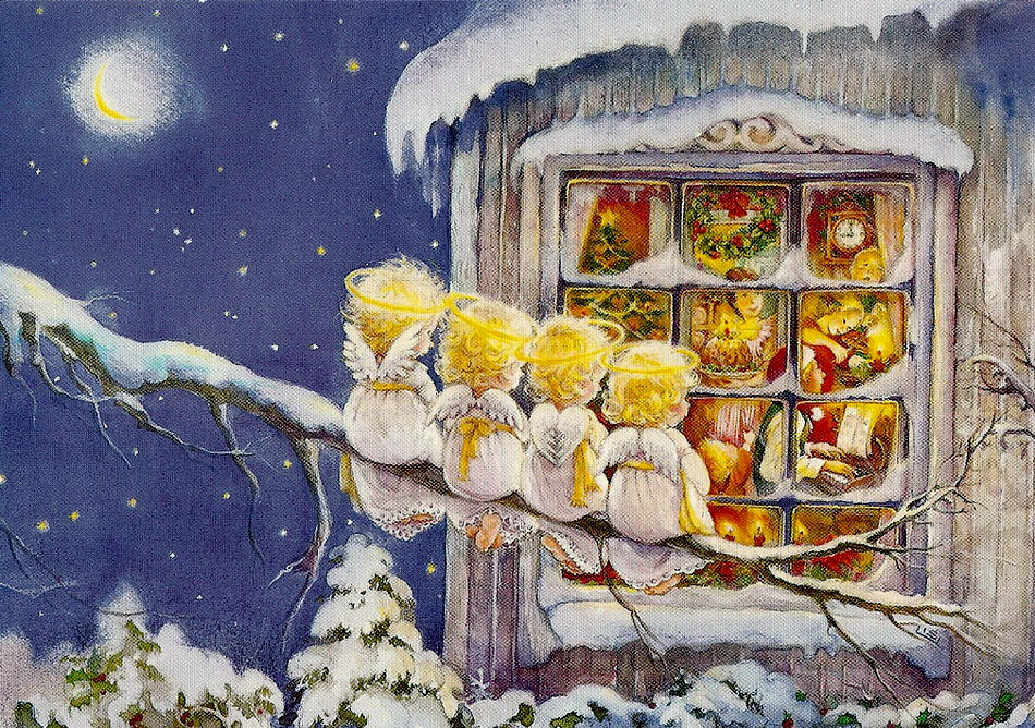 рождество открытки художник