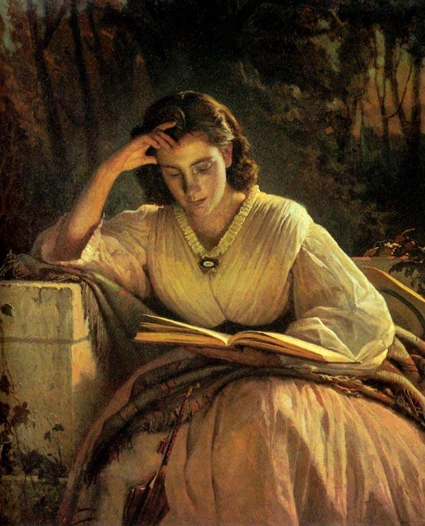 За чтением. Портрет Софьи Николаевны Крамской, жены художника..jpg