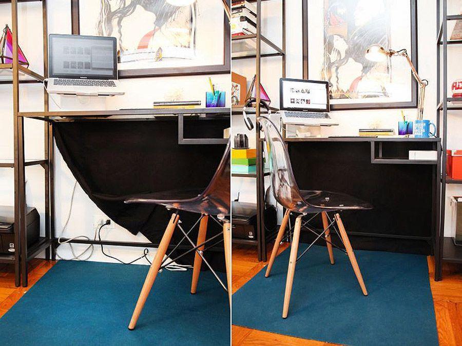 20. Повесьте за столом черную ткань, чтобы спрятать паутину проводов.