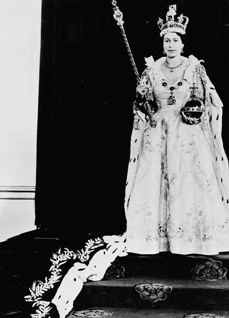 H.M. Queen Elizabeth II wearing her Coronation robes and regalia 1953