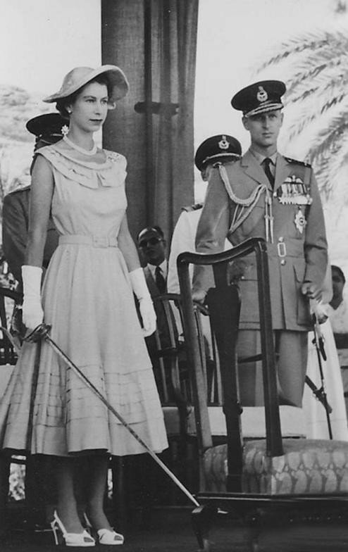 Queen Elizabeth in Aden, 1954