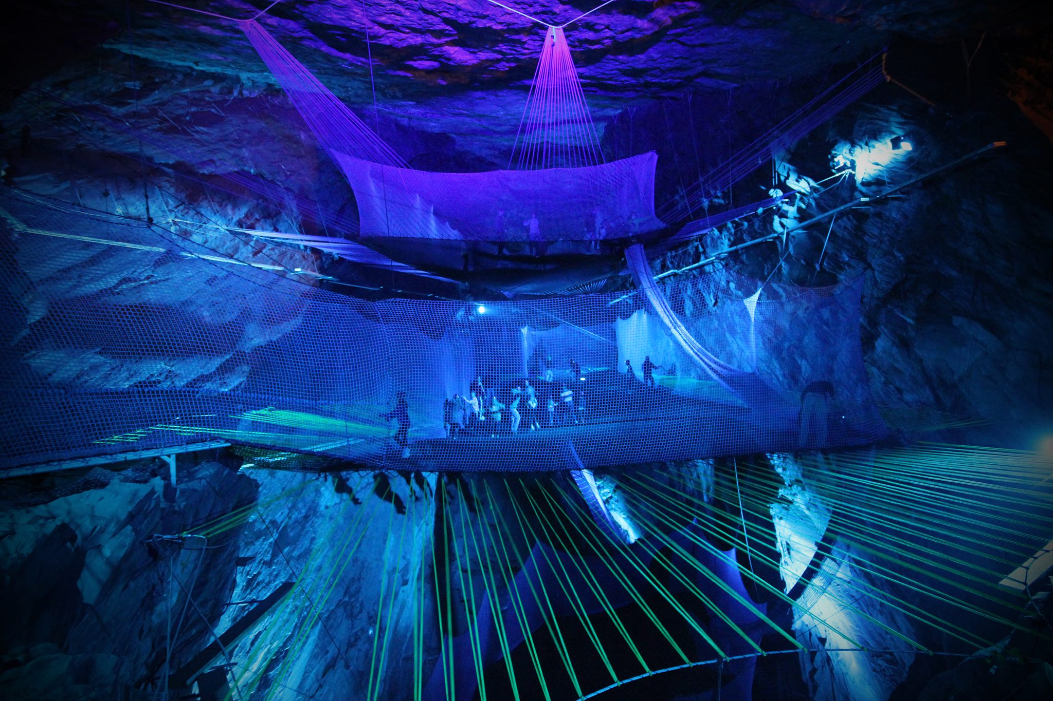 Bounce Below: A Giant Network of Trampolines Suspended in an Abandoned Welsh Slate Mine
