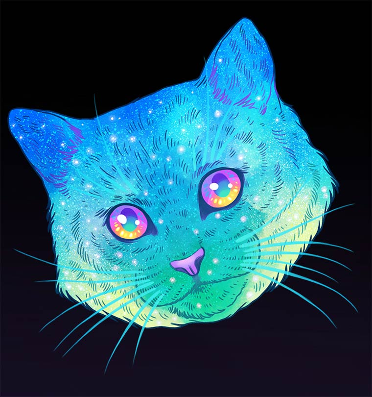 Galactic Cats - Les illustrations explosives et colorees de Jen Bartel