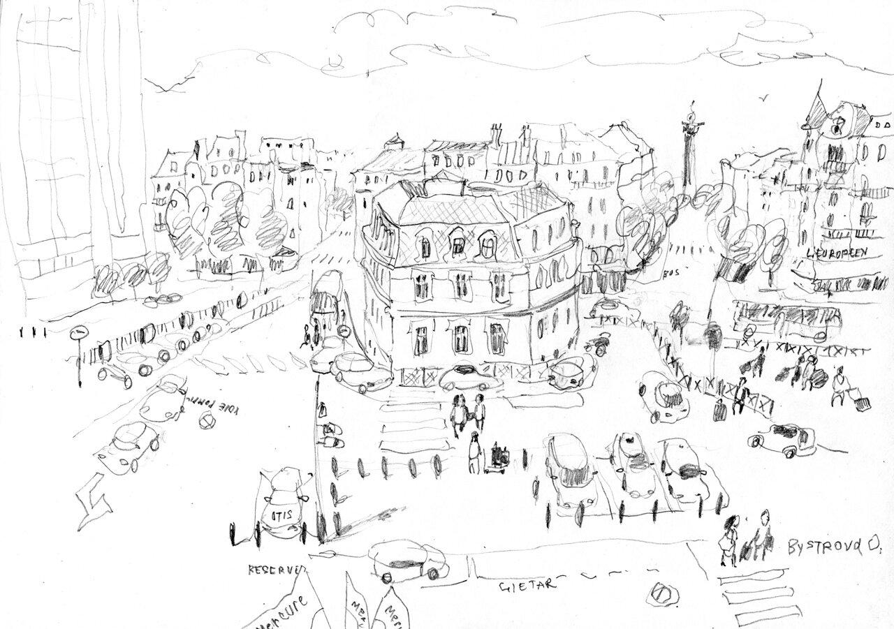Paris le 14 juillet 2012. Dessin de fenetre