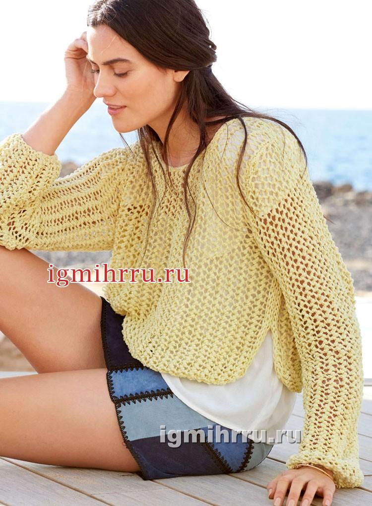 Желтый летний пуловер с сетчатым узором. Вязание спицами
