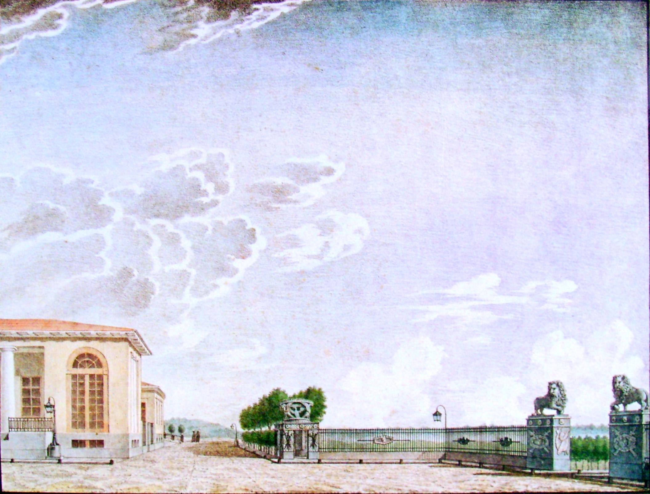 33. Вид чугунной решетки на площади с приезда от реки Волхова в село Грузино. Рисовал И. Семенов