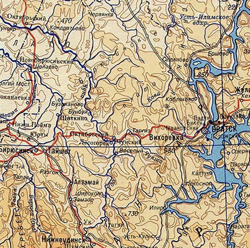 2000 - Географическая карта России и стран СНГ. Франмент Чунв