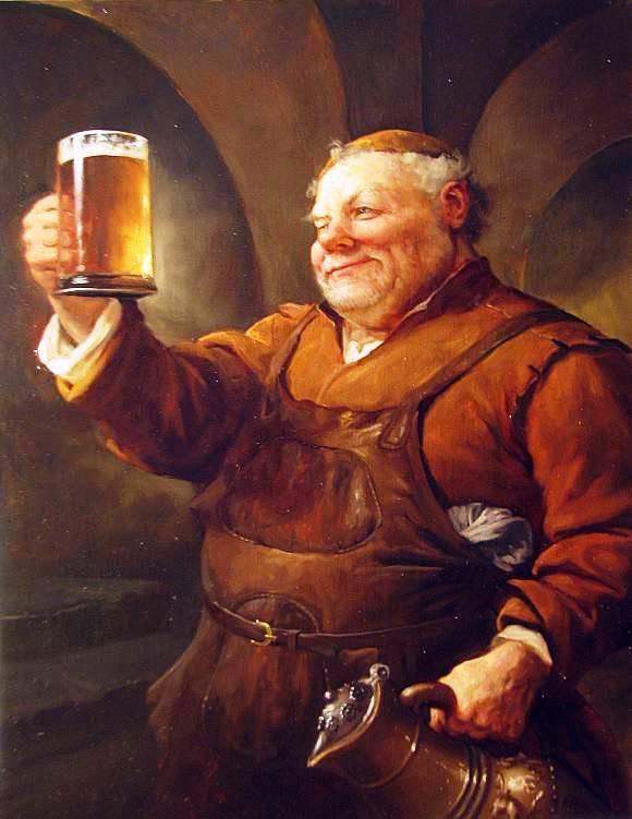 С днем пивовара! Пивовар с янтарной кружкой  пива