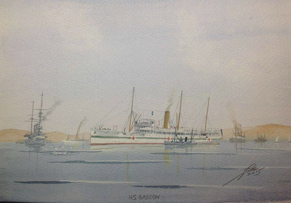 Hospital Ship Gascon at Mudros WW1.