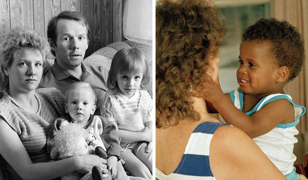 Слева: Патрик и Лорен Берк со своими детьми, годовалым Дуаэтом и четырехлетней Николь, в своем трейл