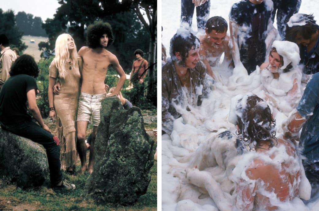 Слева: Вудсток, 1969 год. Справа: люди, покрытые пеной, веселятся на фестивале Isle of Wight.