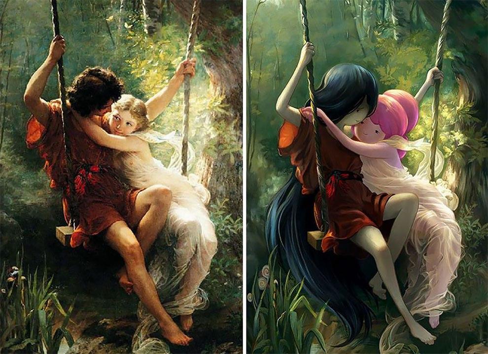 Художник под ником Lothlenan перевоплощает героев классических картин в персонажей современной анимации