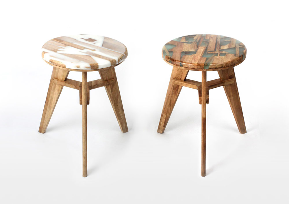 Unique Stool Design Utilizes Offcut Wood Combined With Resin to Eliminate Construction Waste