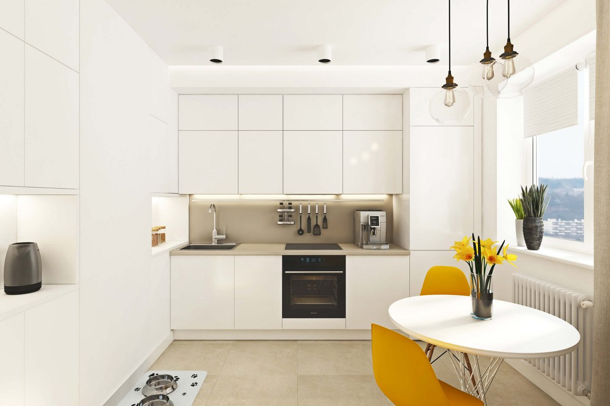 белая кухня в квартире