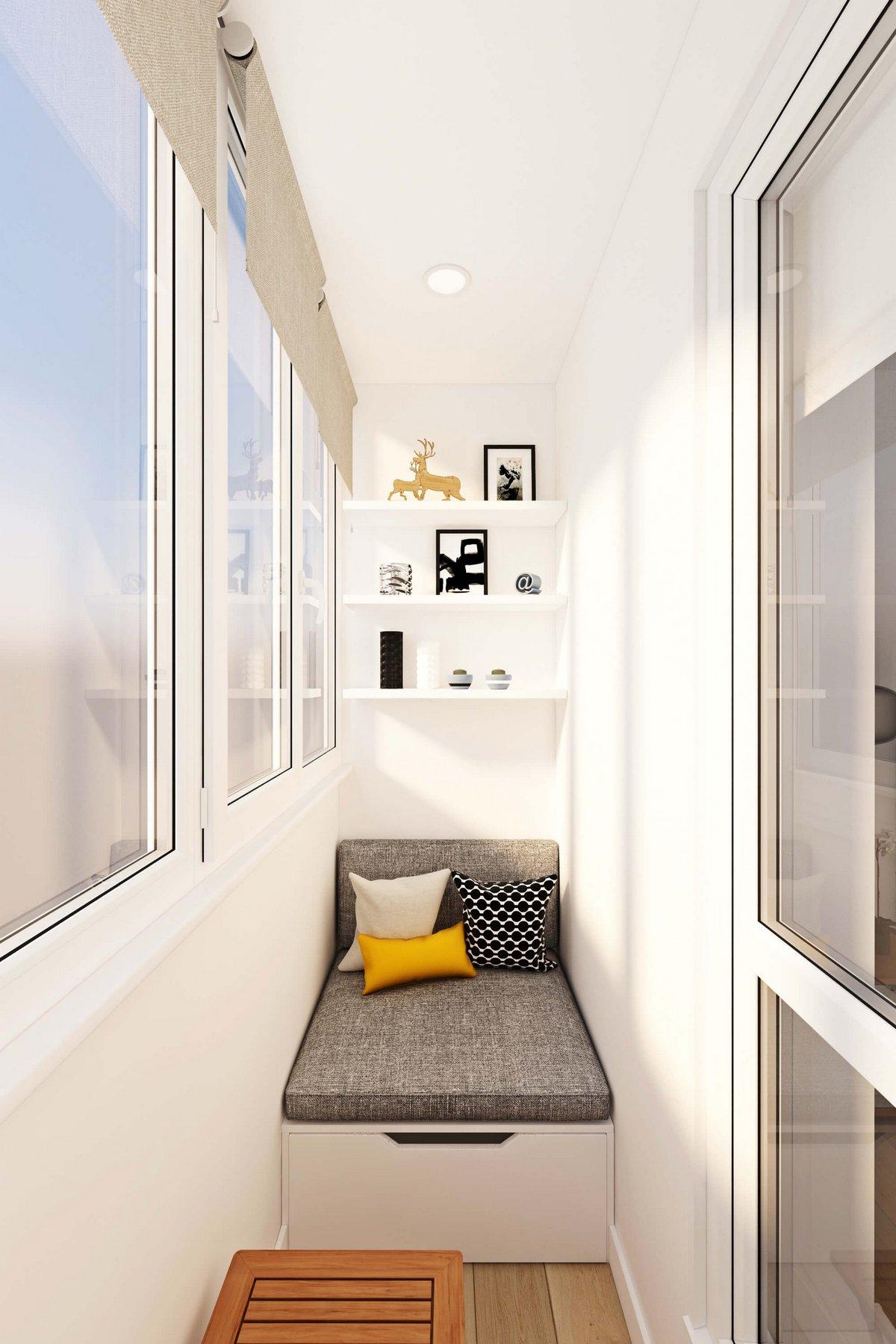 балкон в квартире с мягкой зоной
