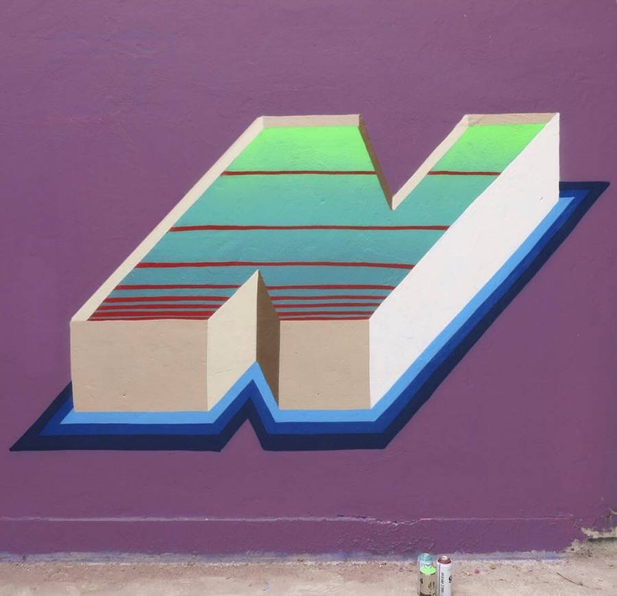 Colorful 3D Typography Mural