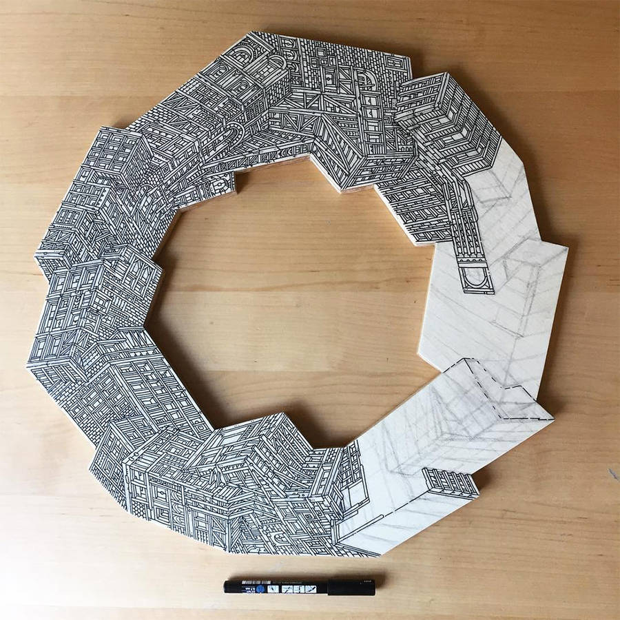 Infinite Skyscrapers Illustrated on Circle Pieces of Wood (8 pics)