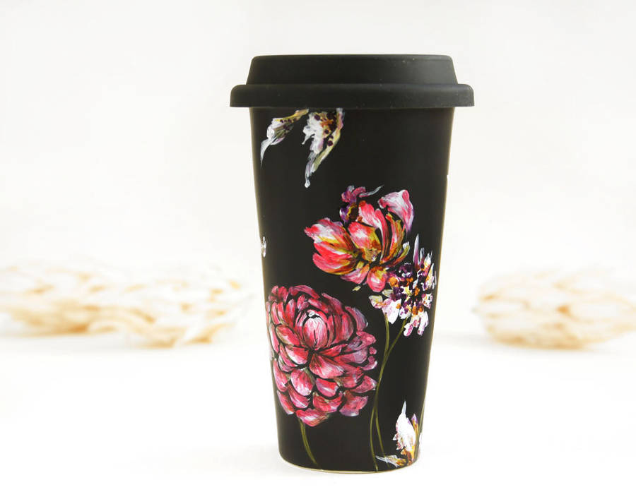 Delicate Floral Hand Painted Coffee Cups