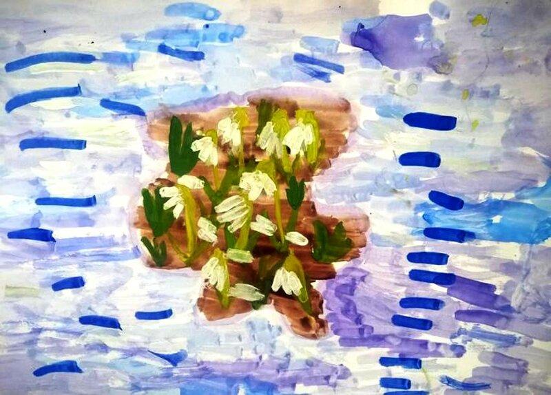 Подснежники - Замбровская Полина Анатольевна, 6 лет, Тема -- Рисунок, п. Железнодорожный (Подольский р-н).jpg