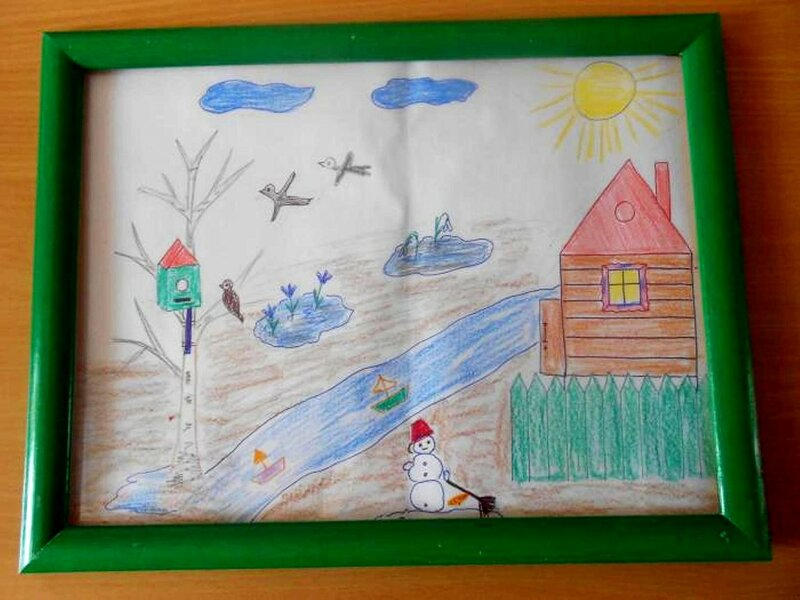 Тает снег, бегут ручьи - Кузина Маша, 5 лет, Тема -- Рисунок, п. Железнодорожный (Подольский р-н).jpg