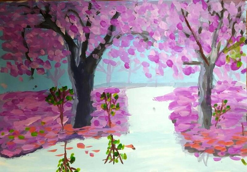 Цветение сакуры - Басаева Дана Сергеевна, 8 лет, Тема -- Рисунок, г. Элиста.jpg