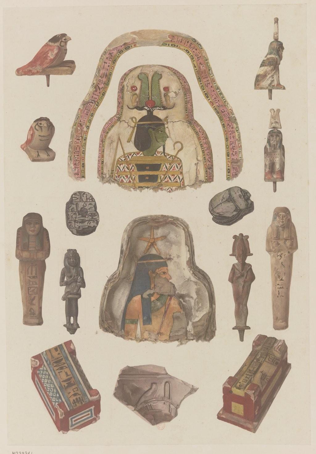 Фивы. Зарисовки мумий и фрагменты предметов из окрашенного дерева, камня и бронзы