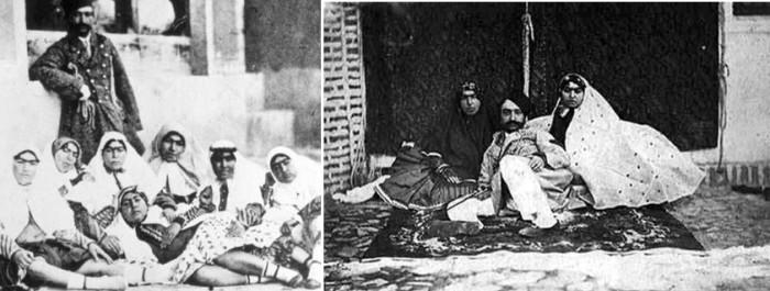 8. Насер ад-Дин Шах Каджар c некоторыми женщинами из гарема. Можно даже предположить, что у жен в га