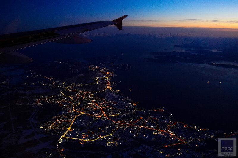 Один незабываемый закат во время перелета на Камчатку