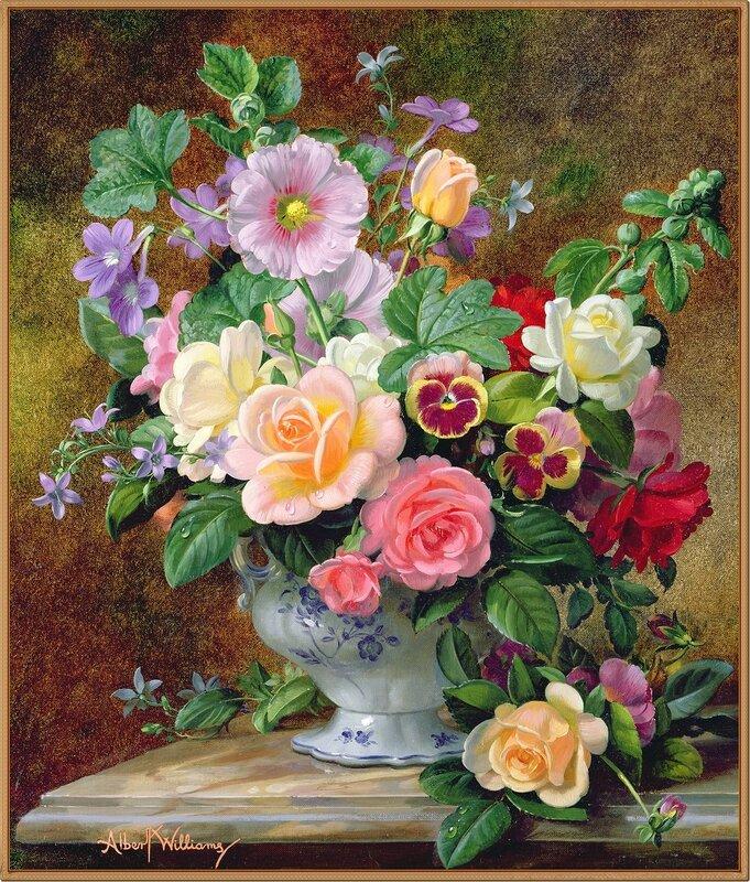 Розы и другие цветы в стеклянной вазе (Roses and other flowers in a glass vase)_Доброе утро с музыкой прелестною цветов!