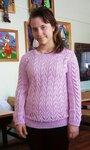 Сиреневый ажурный пуловер