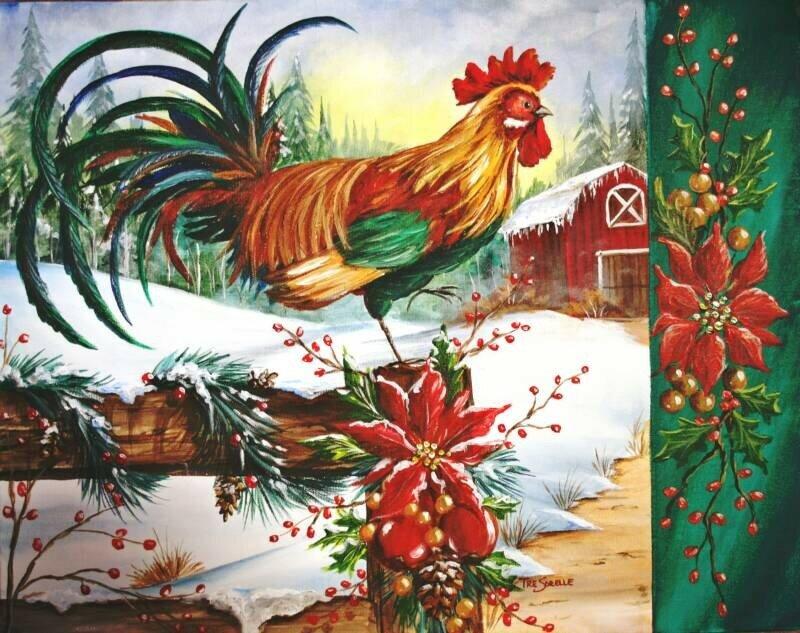 Открытка на новый год петух, март открытки