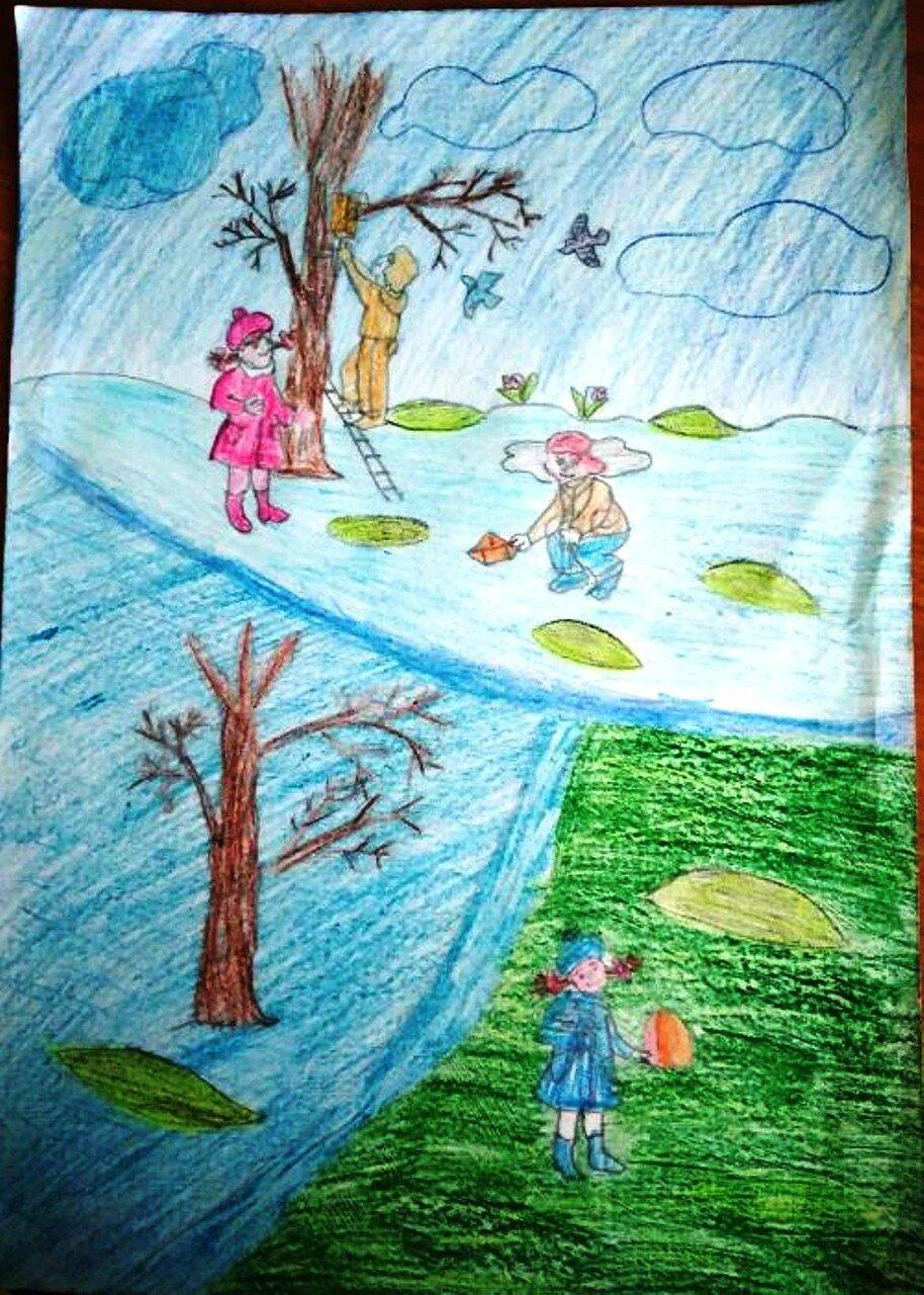 Скворцы прилетели - Ташкинов Никита, 11 лет, Тема--Рисунок, г. Мариинск.jpg