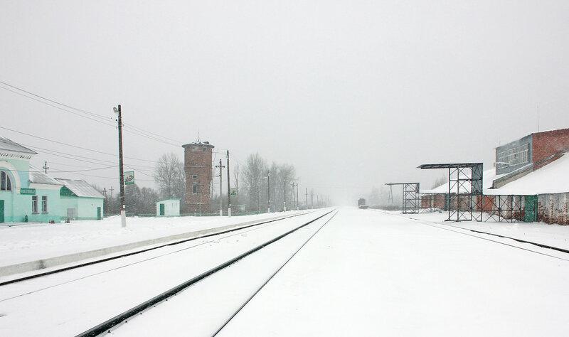 Панорама станции Новодунинская, вид на Ржев