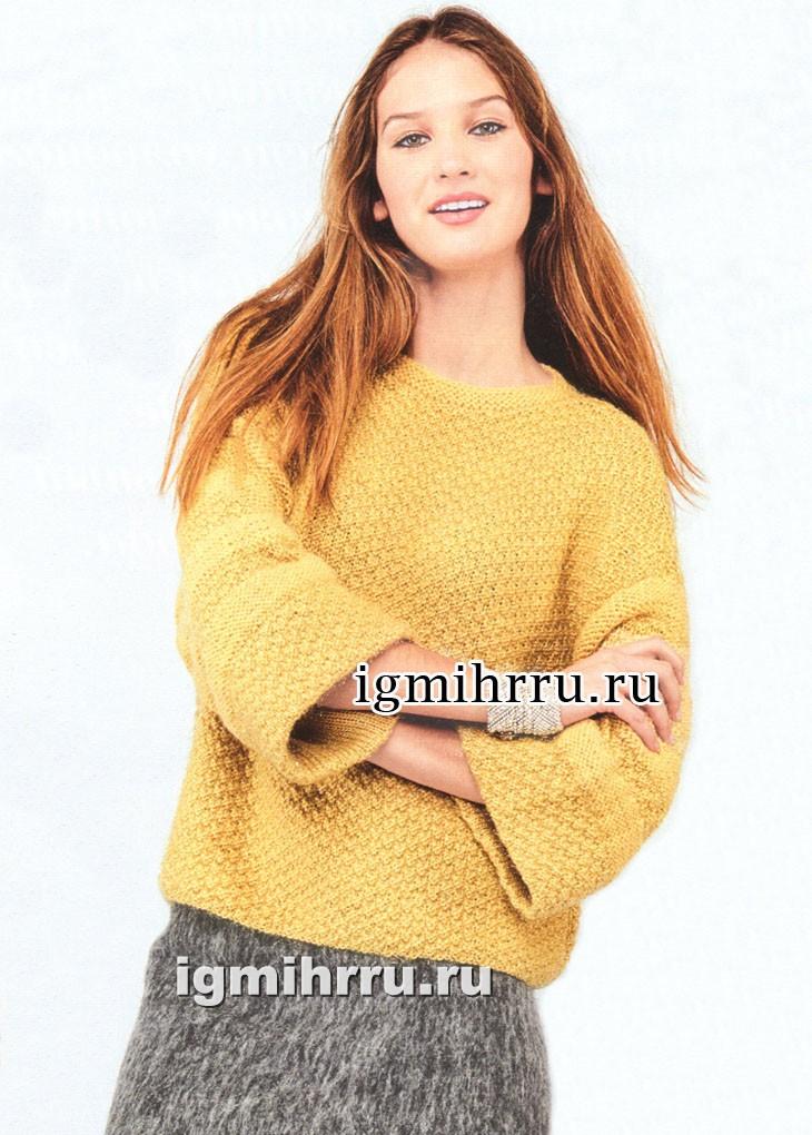 Желтый пуловер с широкими рукавами. Вязание спицами