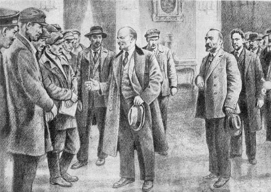 Н.С.Чхеидзе встречает вернувшегося из эмиграции В.И. Ленина, апр. 1917..jpg