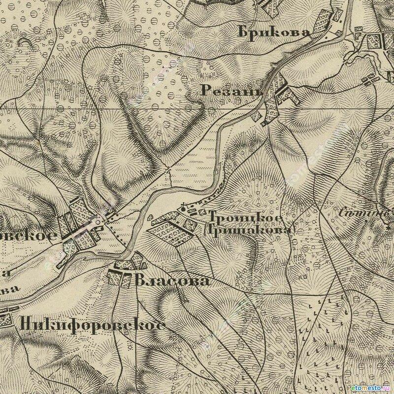 Село Троицкое на карте Шуберта, 1860 год