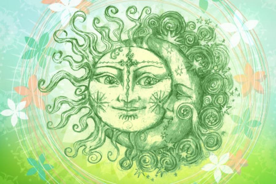 День летнего солнцестояния. Зеленое солнце открытки фото рисунки картинки поздравления