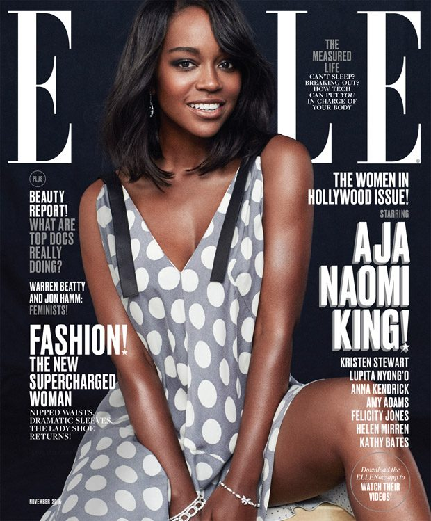Aja Naomi King Styled By Samira Nasr Dress by Calvin Klein Collection. Earring by Tiffany & Co. Brac