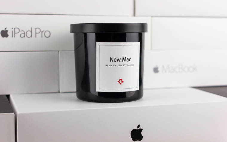 New Mac - A scented candle that smells like a new Apple computer